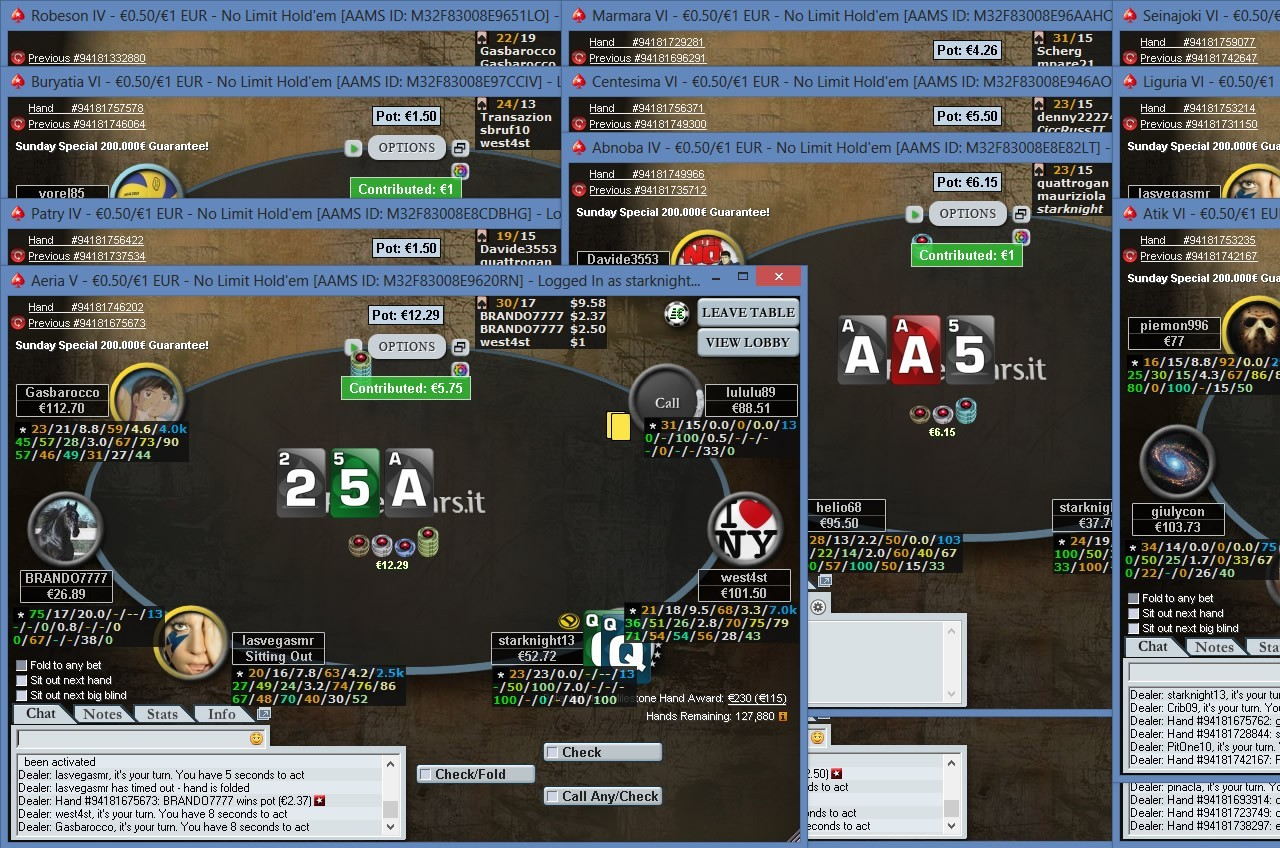 Andrea Brandi ai tavoli di Pokerstars.it con carte e HUD